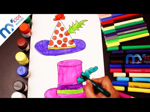 Learn How to draw And Paint Party Hat || Teach Drawing for Kids || My Kids Rhymes