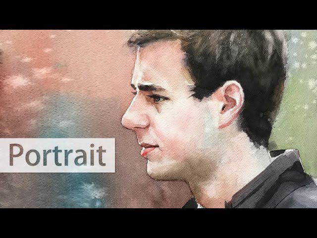 Watercolor painting lesson step by step of a man in profile view