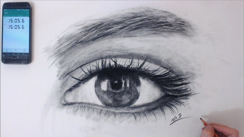 How to draw Realistic Eye in 14min Real time - Thumbnail is screenshot Art Drawing Video