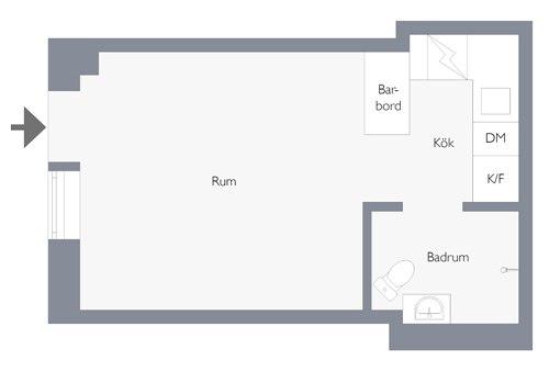 Маленькая скандинавская квартира-студия 19 м.