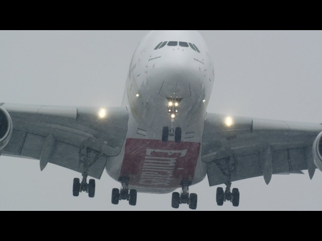 Storm Emma A380 crosswind double bill (4K)