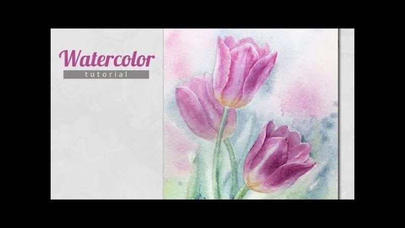 How to Draw a Tulips Watercolor. Tutorial.