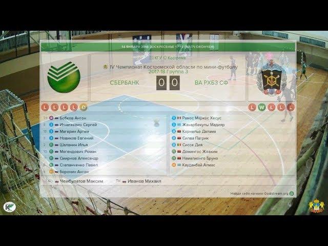 Сбербанк - ВА РХБЗ СФ 7:4 IV Чемпионат Костромской области по мини-футболу (14.01.18)