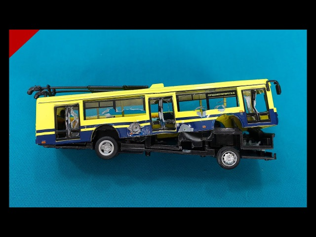 Yellow Trolley Bus. Shooting at Model Trolley Bus from BB gun. Destoying Trolley Bus in slow motion