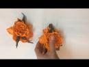 Брошь заколка роза цвета манго