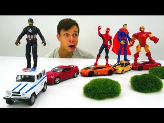 Игры #машинки Фёдор сделал АвтоПОЕЗД для #Супергерои Марвел Видео игрушки для мальчиков