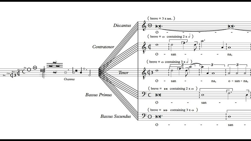 Johannes Mittner: Sanctus from Missa Hercules dux Ferrarae (5v. prolation/mensuration canon)