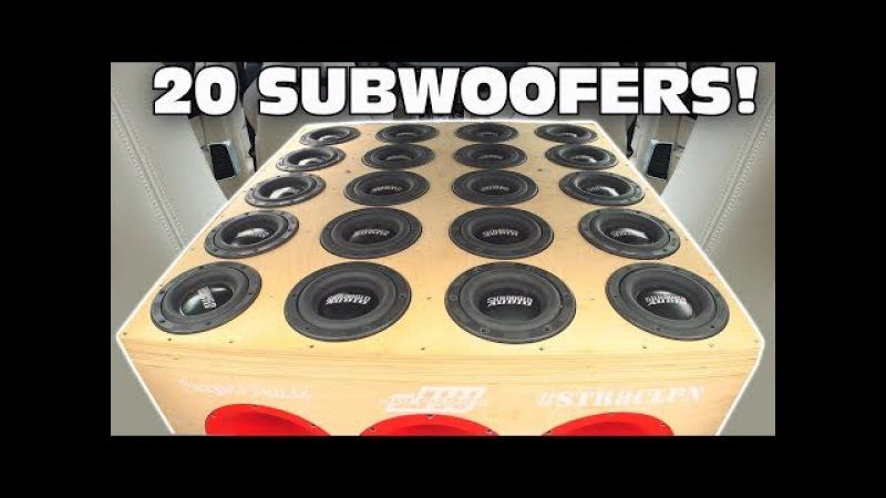 BIGGEST 6.5 Subwoofer Setup EVER!?! 20 SUNDOWN Subs w/ Sound System DEMO 2 12 Ported Subwoofers