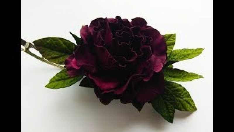 МК Роза из фоамирана на заколке цвет бургундия