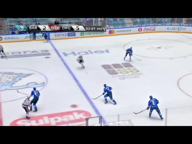 Моменты из матчей КХЛ сезона 16/17 • Гол. 3:5. Сагадеев Антон (Барыс) пробил вратаря в ближний 26.08
