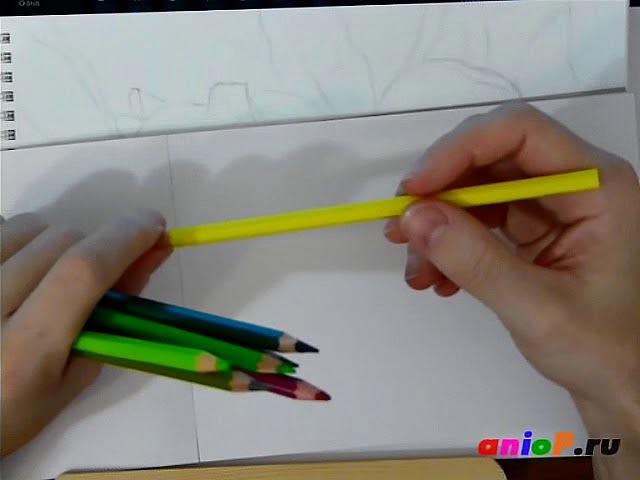 Рисуем зеленые яблоки цветными карандашами. Часть 2