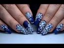 Красивый и простой дизайн ногтей Цветы на синем фоне. ТОП удивителные дизайны ногтей
