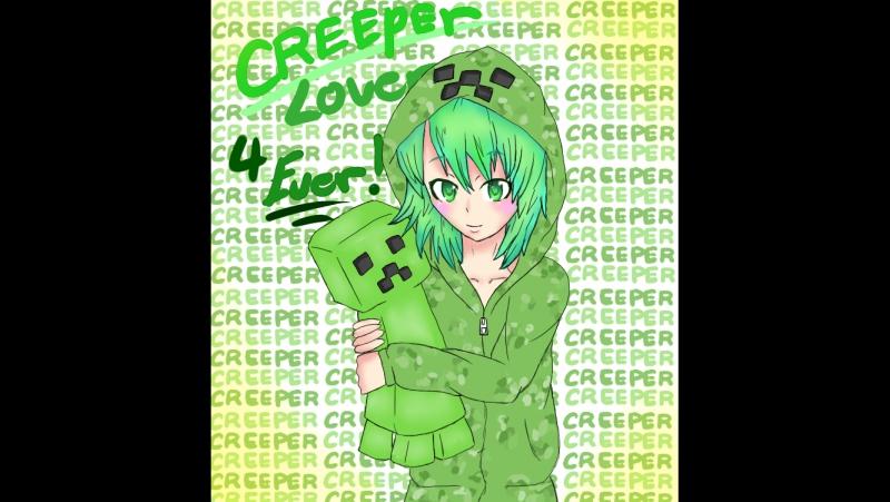 клип зелёный няша крипер