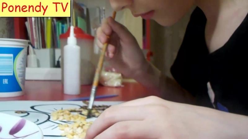 Аппликация Пчёлка из крупы. Make an application of cereals.