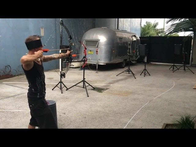 Blindfolded arrow catch with multiple shooting arrows!