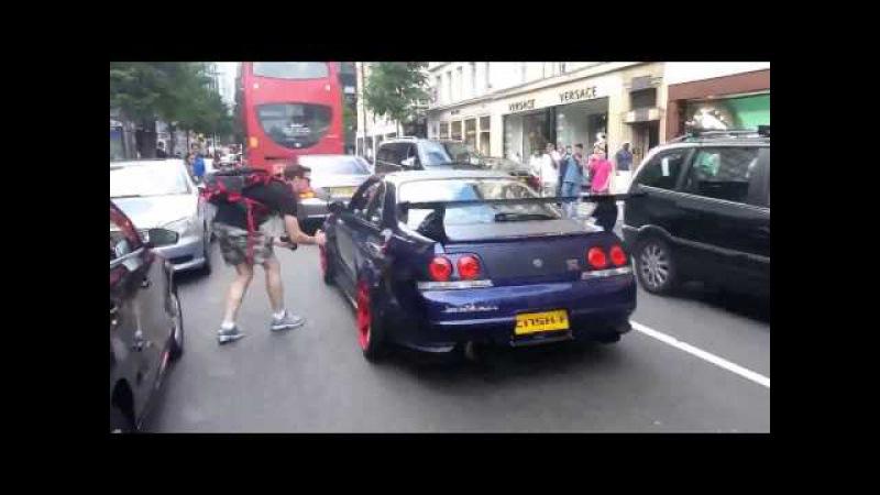 INSANE Nissan GT R R33 BURNING TIRES x Sloane Street June 2014 1080P x HD