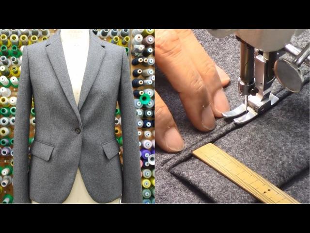 ジャケットの作り方・縫い方 Part3 「ダーツ フラップ玉縁ポケット 表