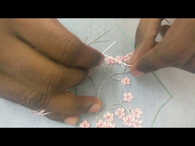 Hand Embroidery : Challi work with beads on a saree blouse