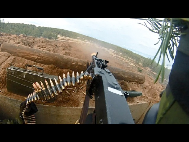 Swedish Army Helmet Cam of MG3 Machine Gunner Heavy Intense Live Fire Exercise