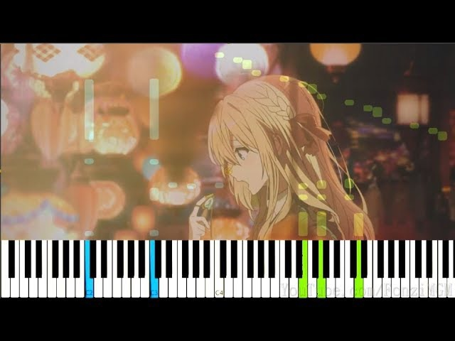 【FULL】[Violet Evergarden OP] Sincerely - TRUE (Synthesia Piano Tutorial)