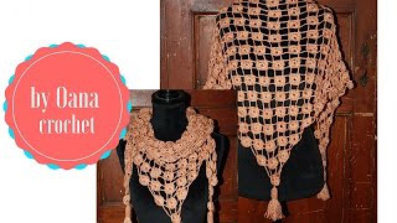 Crochet triangular cicrles scarf by Oana