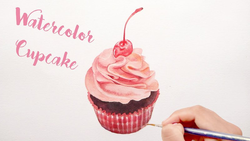 Watercolor Cupcake - Speed Painting