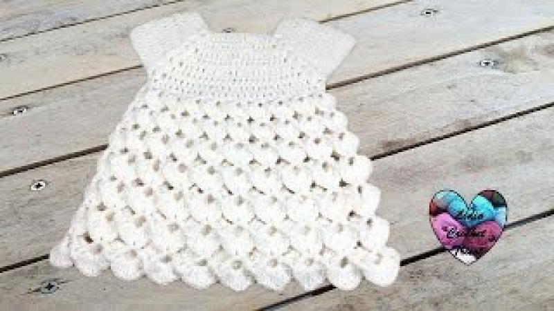 Robe point en relief crochet toutes tailles / Dress all sizes crochet (english subtitles)