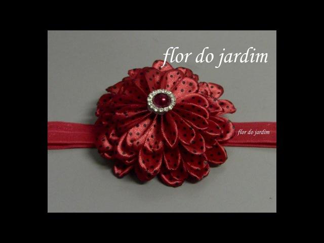 Flor de fita de cetim com quatro camadas de pétalas DIY Satin Ribbon Flower