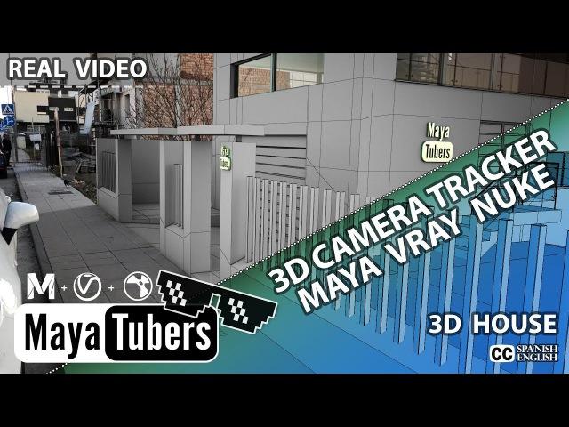 3D Camara Tracking con Nuke VFX y Maya VRay Como Insertar un edificio 3D en un Video - MayaTubers