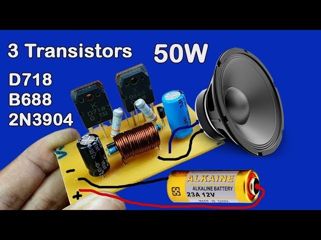 How to make 12V Amplifier used 3 Transistors D718 and B688 and 2N3904 50W