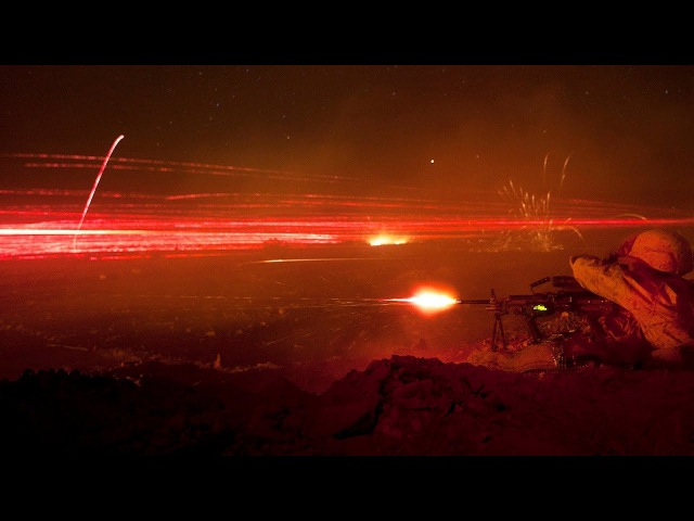 Terrifyingly Impressive Tracer Bullets Firing at Night from Guns