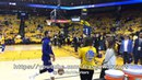 REPOST: Steph Curry shooting (MCL rehab) pregame, then heaves a full-court shot