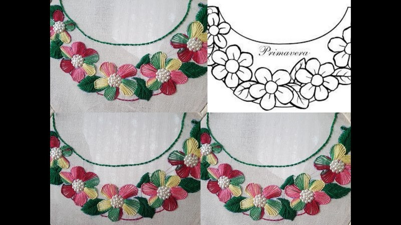 Hand Embroidery neck designs and button hole stitch embroidery designs 2018 by HUMARIA ARTS