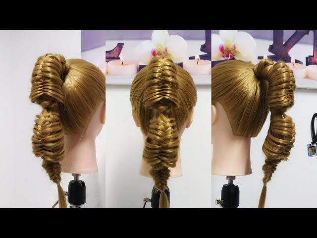 Peinados Faciles / Coleta con Doble Espina de Pescado / Trenza de Espiga