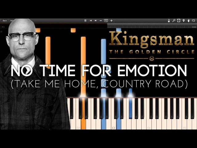 No Time for Emotion (Take me Home, Country Road) - Kingsman 2 (Synthesia Piano Tutorial)SHEETSMIDI