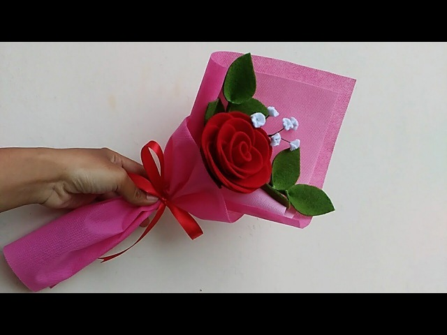 How to make single rose felt flowers bouquet for valentine's day gift