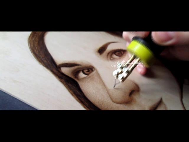 Пирография, женский портрет А4/Pyrography female portrait