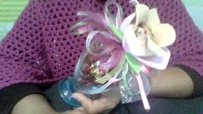 Copa de cristal con flor 10 de mayo MDulceCreación