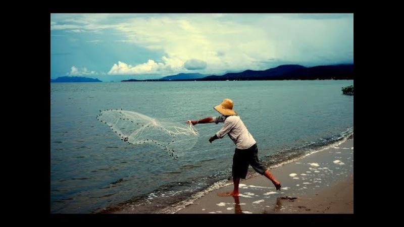 Рыбалка кастинговой сетью закидушкой. Необычная ловля рыбы.