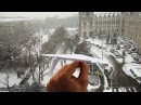 My Paper Plane Performs A Perfect Vertical Landing On A Moving Tram In Snow