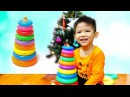 Funny Kid Learn Colors and Size while Playing With Stacking Rings Toy - Learning Video for Kids