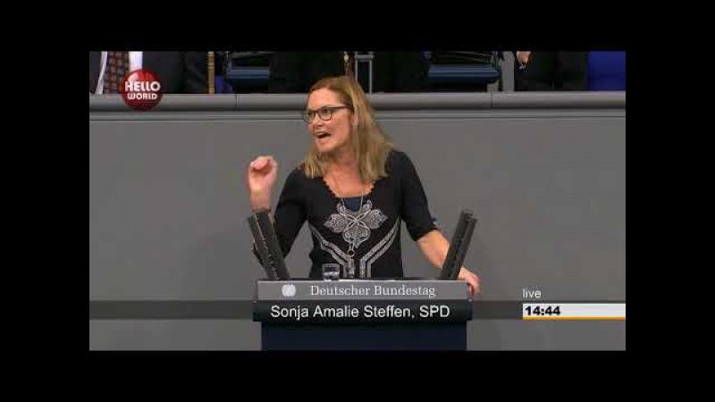Bundestagsrede Sonja Steffen (SPD) Sagt, AfD sei keine demokratische Partei, Gewalt OK (13.12.2017)