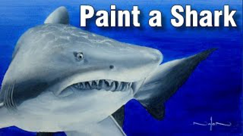 How to paint a shark in oil time lapse painting lesson