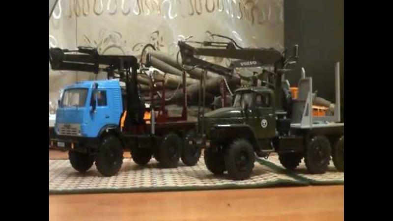 УРАЛ-44202 и КАМАЗ-4310 конверсии лесовозов с роспуском и КМУ 143