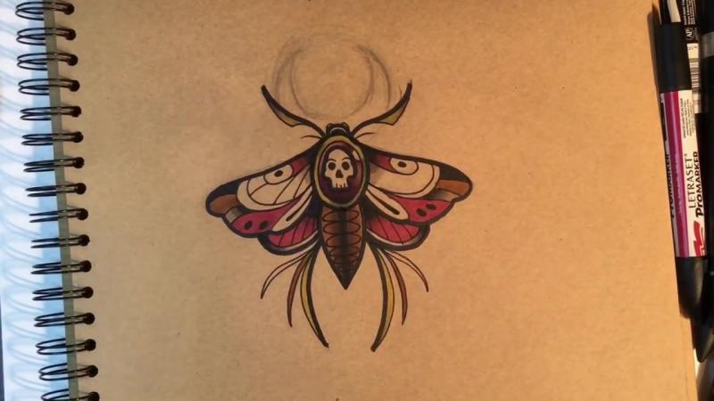 Эскиз тату в стиле Олд Скул. Мотылёк.