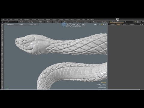 Snake skin bevel texture in Modo. Моделирование фактуры кожи змеи.