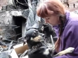 Dog hugs his human after the family loses their home in a fire.