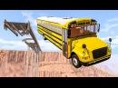 Рухнул мост BeamNG Все тачки подряд падают в пропасть Машины разбиваются на дне каньона Игры аварии