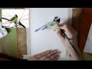 Мастер класс 2 Картина акварелью Птичка синичка
