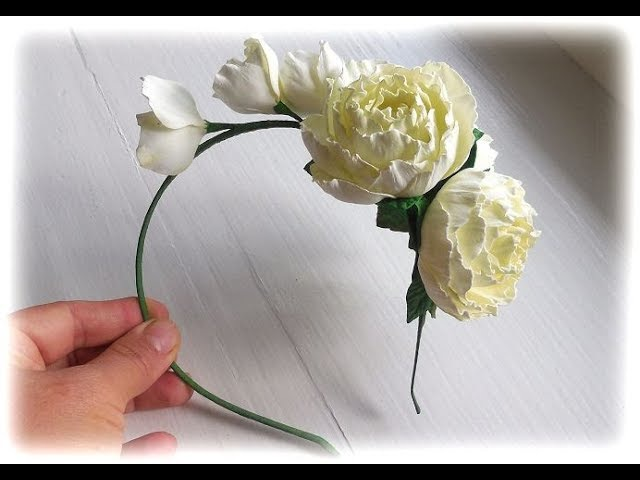 МК Простой способ создания венка ободка с цветами из иранского фоамирана